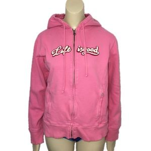 Life is good pink hoodie front zip sweatshirt hood